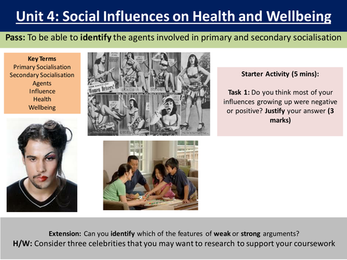 Health and social care Unit 4 - social influences on health and well being