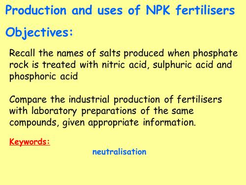 New AQA C10.11 (New GCSE Spec 4.10 - exams 2018) – Production and uses of NPK fertilisers (TRIPLE)