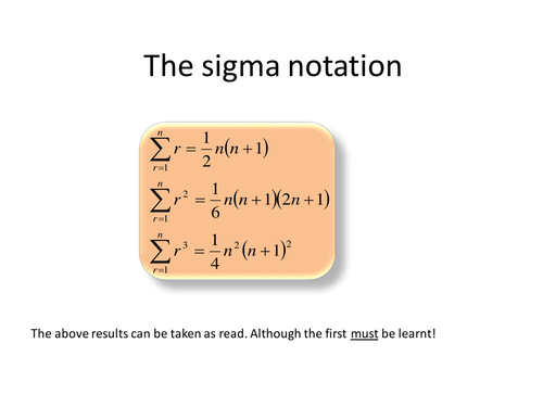 The sigma Notation and Difference Method