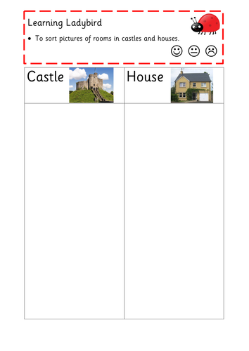 Sort pictures of castles and houses - compare and contrast homes