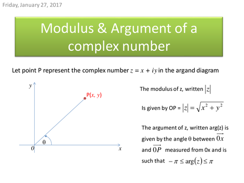 The Modulus argument form of Complex numbers