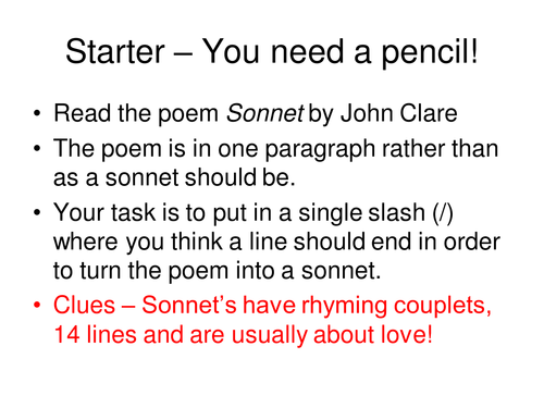 Sonnet by John Clare Ofsted Outstanding Lesson KS3 Poetry