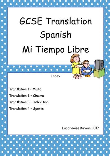 Mi Tiempo Libre Translation Booklet GCSE 9-1 (New Spec) Free Time