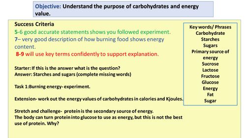 Carbohydrate and energy experiment lesson. Food Preparation and Nutrition GCSE