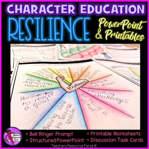 Resilience Values Lesson: Character Education PSHE (PowerPoint, Task Cards & Printables)