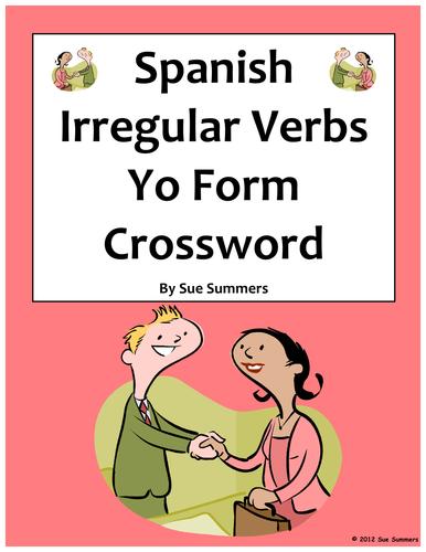 Spanish Irregular Yo Form Verbs Crossword And Image Ids Worksheet By
