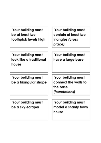 Earthquake resistant buildings: Challenge cards