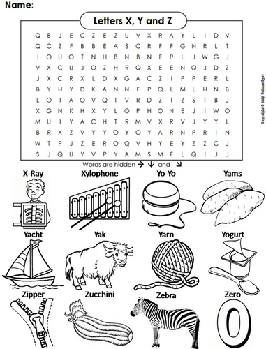 the letters x y and z word search by sciencespot teaching