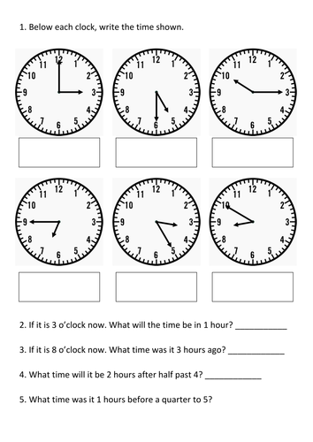 year 4 time assessment ks2 teaching resources