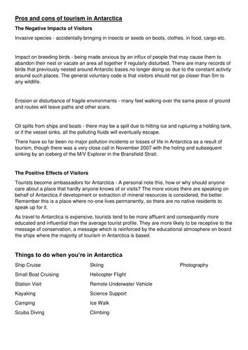 KS3 Antarctica Assessment Tourist Leaflet