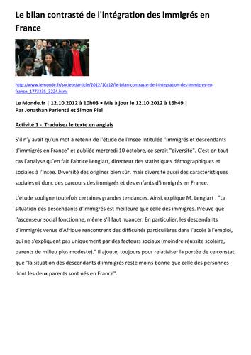 L'intégration des immigrés en France