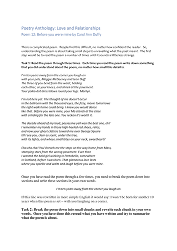 Aqa English Literature Anthology Before You Were Mine