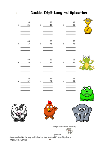 four simple format long multiplication worksheets with answers