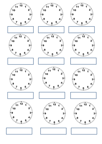 Time worksheets and homework task for Year 3