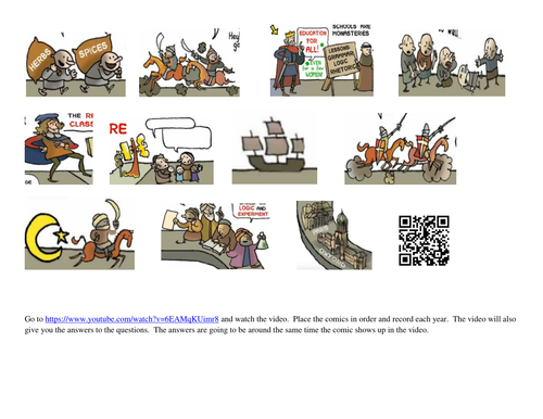 World History Middle Ages Video Timeline Comic Strip W Worksheet By