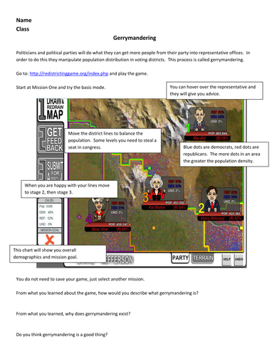 AP Human Geography: Gerrymandering Online Game Instructions w/ Worksheet