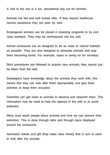 Essay Zoos