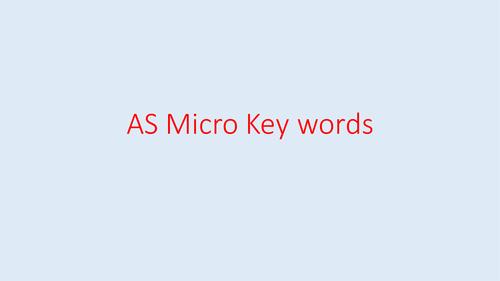 Economics AS Micro Key Term cards