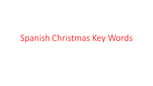 Spanish Christmas Words Revision cards