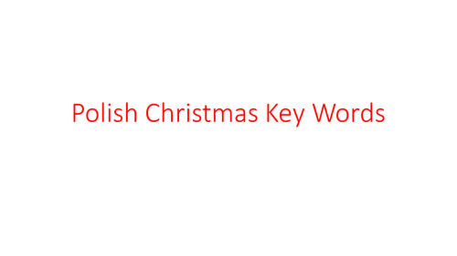 Polish Christmas Words Revision cards