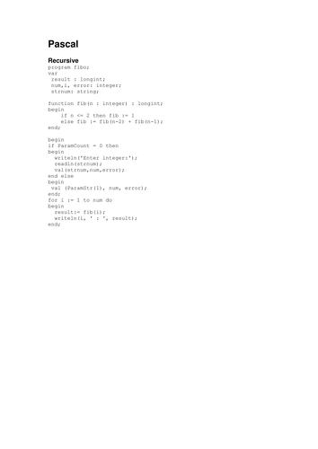 Fibonacci sequence solution (Pascal)