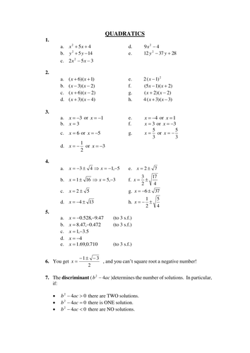 Quadratics revision for GCSE Maths