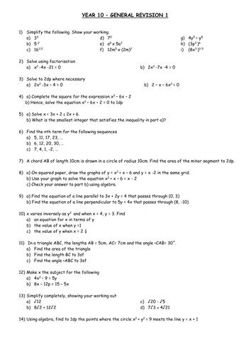 Algebra revision sheet 2 for GCSE maths