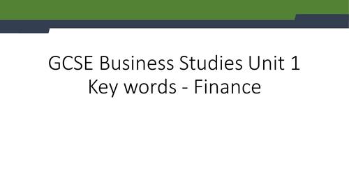 GCSE Business Studies definitions - finance