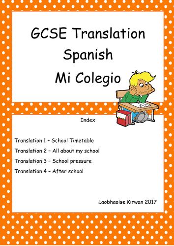 El Colegio Translation Booklet GCSE 9-1 (New Spec) School