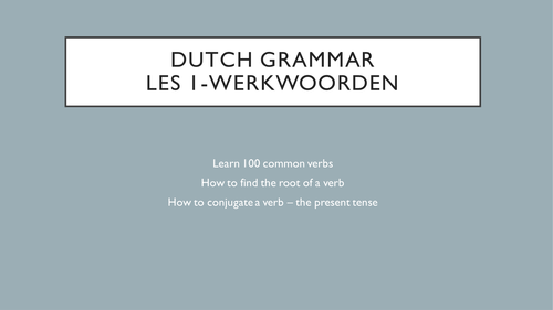 100 Common Dutch Verbs - Present Tense