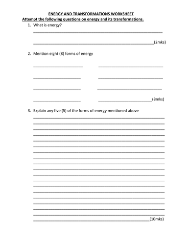 ENERGY WORKSHEET WITH ANSWERS