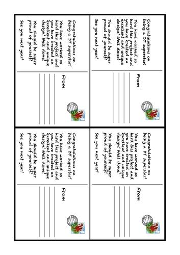 Exemplar Excellent Pupil Achievement Postcards Textiles DT for Parents or Pupils