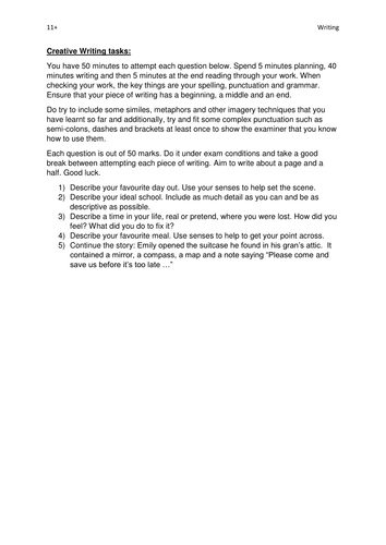 11+ Creative Writing tasks