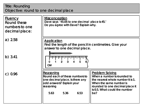 Mastery Maths - Rounding - Round to one decimal place