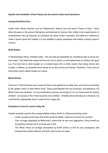 Aristotle and Virtue Ethics   Free Essay Example