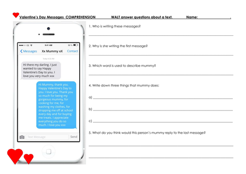 Valentine's Day Comprehension based on brief text message exchanges