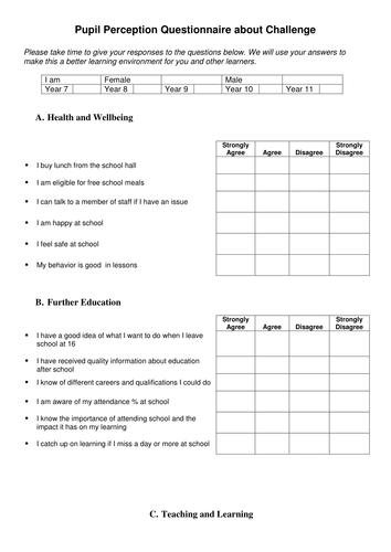 Classroom Design Questionnaire ~ Pupil perception questionnaire survey about challenge by