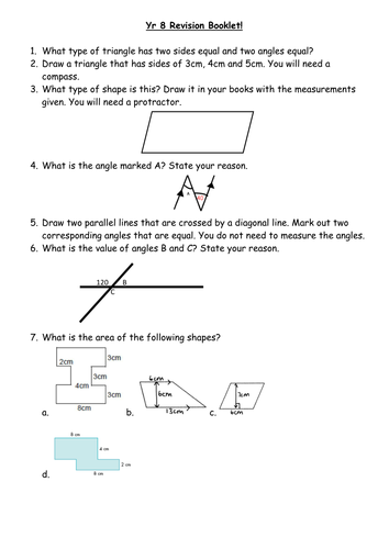 Construction Parallel Lines Area Revision Sheet