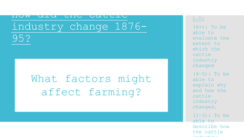 Edexcel American West. Unit 3. How did the cattle industry change? 1976-95