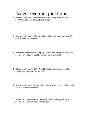 Business Studies: Sales Revenue Questions