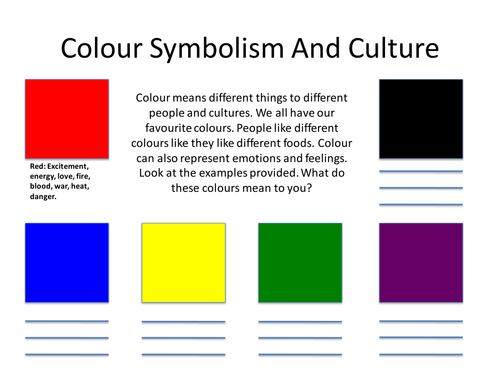 Colour Symbolism Worksheet by Chrissylouisewest - Teaching Resources ...