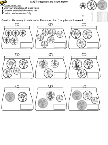 differentiated worksheets for recognising coins and counting money by misspkaur teaching resources. Black Bedroom Furniture Sets. Home Design Ideas