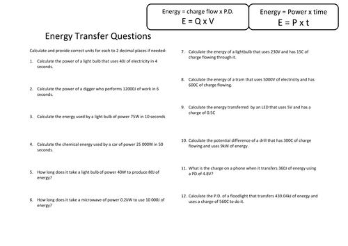 Energy Transfers Worksheet And Mark Scheme Physics Aqa