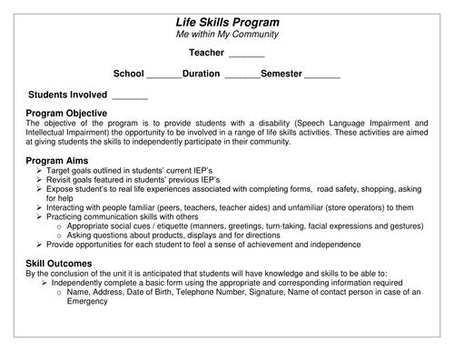 Life Skills - Personal Details
