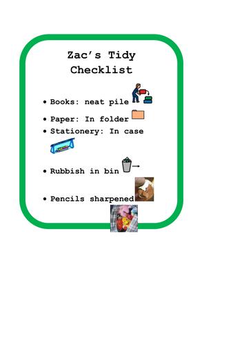 Social Story: Desk Tidy Checklist