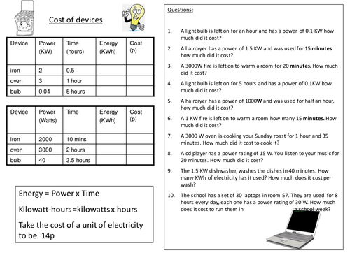 Edexcel P1 topic 5 Generation & Transmission of Electricity work booklet