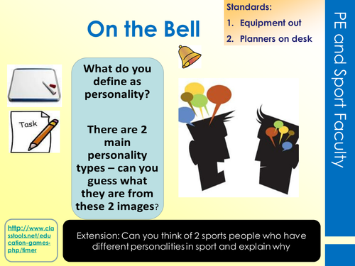 Unit R044: Sport Psychology - Personality and sports performance