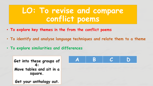 AQA Conflict Poetry Revision Lesson