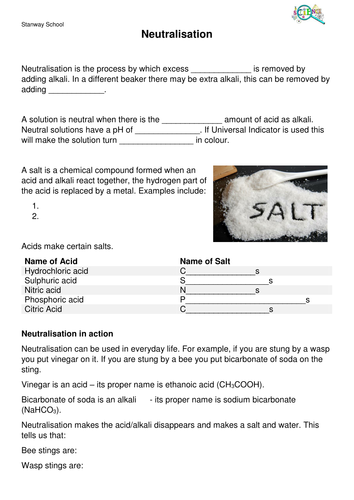 Neutralisation by rneale7 | Teaching Resources