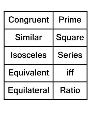Maths - literacy - key words